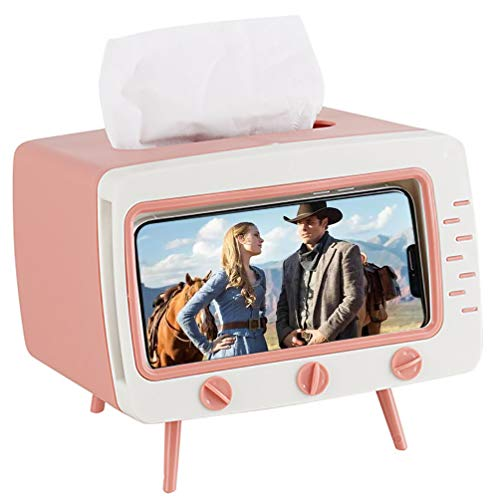 M & A Keleily Taschentuchbox Rosa, Feuchttücher Box Taschentuchspender Kosmetiktücher Box TV-förmig Kosmetikbox Halter mit Handyhalter für Zuhause, Büro, Schreibtisch, Wohnzimmer, Badezimmer, Küche