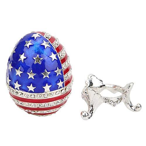 Redxiao Joyero de Huevo de Pascua, Hermoso joyero Pintado con Esmalte de decoración de Escritorio, para niños, Familia, Pascua