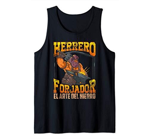 Herrero Forjador Yunque y Martillo Forja Arte del Hierro Camiseta sin Mangas