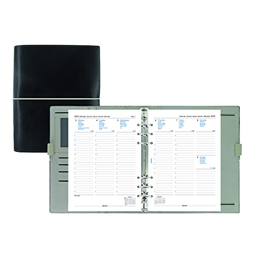 Filofax Domino Organizer, A5 Size, Black – Leather-Look with Contrast Stitching, Six Rings, Week-to-View Calendar Diary, Multilingual, 2022 (C027868-22)