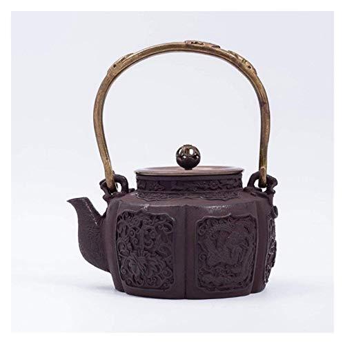 Tetera de cristal de hierro fundido, tetera, hervidor de hierro fundido, hervidor de agua, hervidor de salud, hecho a mano, tapa de cobre, juego de té de 1000 ml (1,9 kg)