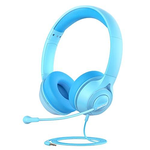 Kinder Kopfhörer mit Mikrofon, Mpow LH1 Kinder Kopfhörer für Online-Lernen, 94 dB Lautstärkebegrenzung, Stereoton, 3,5-mm-Audiobuchse für Smartphone, Tablet, Kindle, PC, Schule, Reisen