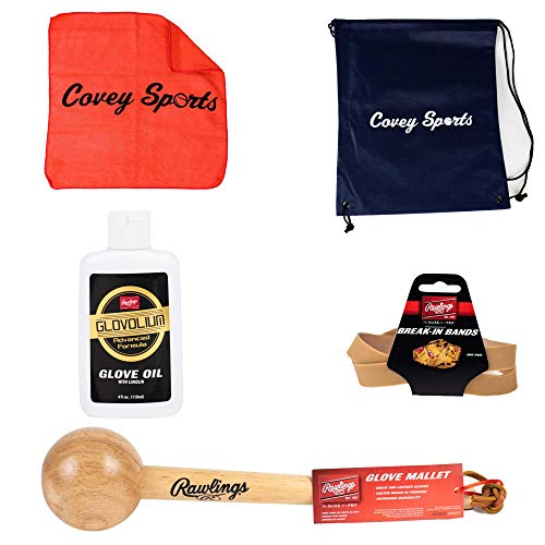 Covey Sports Baseball Softball Glove Break in Kit Bundle (Rawlings Glove Mallet, Glove Wrap, and Glove Oil Cloth and Bag)