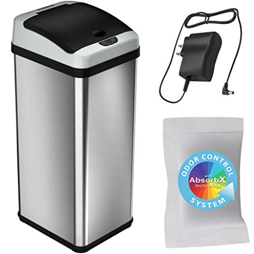 iTouchless 13 Gallon Stainless Steel Touchless Trash Can with AC Adapter Platinum Limited Edition, Odor Control System Kitchen Bin
