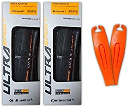 Continental Ultra Sport III Road Bike Tires, Folding PureGrip, Pair - 2 Tires // 2 Levers (700x23c Black/Blue)