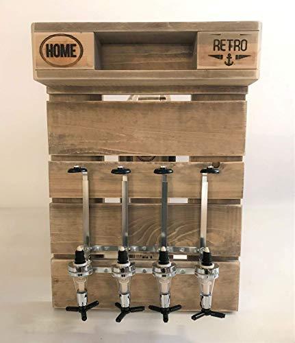 Palettenmöbel, Flaschenhalter mit Portionierern in Palettenoptik Vintage gebeizt und in Handarbeit hergestellt.
