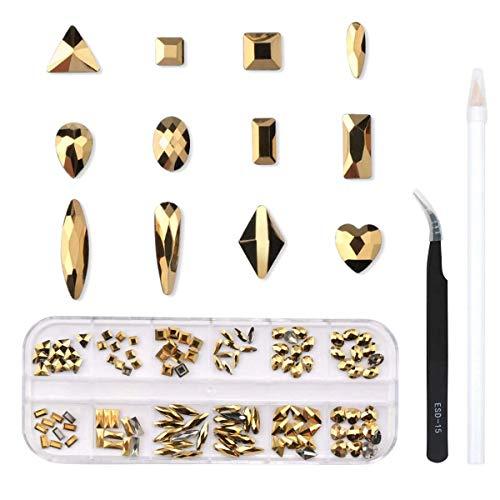 120 Pcs Multi Shapes Glass Crystal AB Rhinestones For Nail Art Craft, Mix 12 Style FlatBack Crystals 3D Decorations Flat Back Stones Gems Set (Gold,120 pcs Crystal)