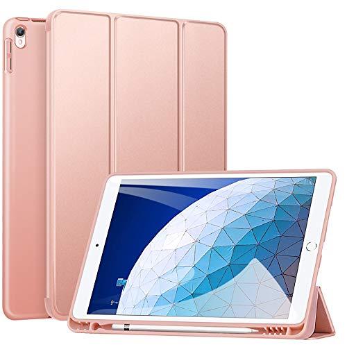 ZtotopHülle Hülle für iPad Air 10.5 2019(3. Generation) & iPad Pro 10,5 2017,Superdünne Soft TPU Rückseite Abdeckung mit eingebautem iPad Stifthalter, mit Auto Schlaf-/Aufwachfunktion,Roségold