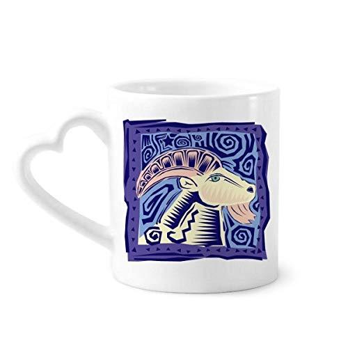 DIYthinker Konstellation Widder Mexicon Kultur Gravieren Kaffeetasse Keramik Keramik-Schale mit Herz Griff 12 Unzen Geschenk Mehrfarbig