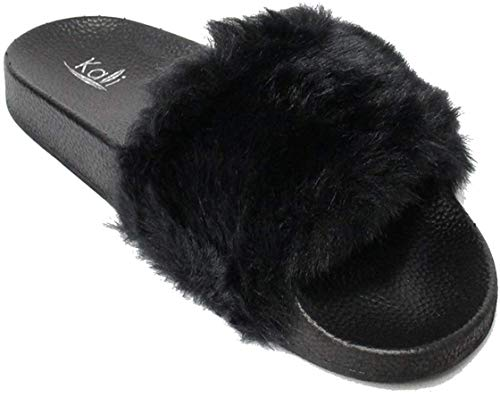 Kali Footwear Women's Flip Flop Faux Fur Soft Slide Flat Slipper Limit (Black, 10)