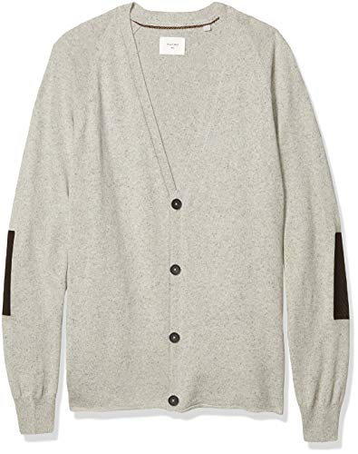 Billy Reid Men's Cashmere Silk Saddle Cardigan Sweater with Leather Patches, Light Grey, M