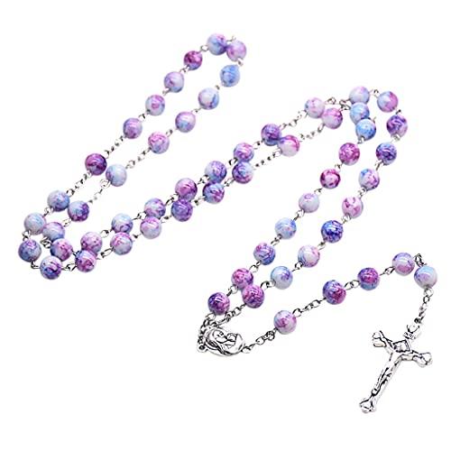 Wr Collar de Rosario Hecho a Mano, Cuentas de oración, Adorno religioso católico, Regalo Cristiano