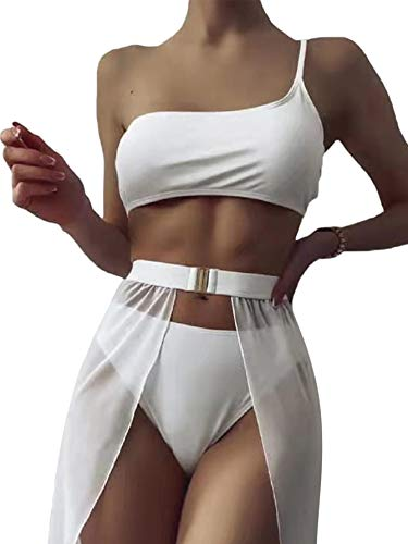 Romwe Damen 3er Pack One Shoulder Bikini Set Badeanzug mit Strandrock Cover Up - Weiß - Medium