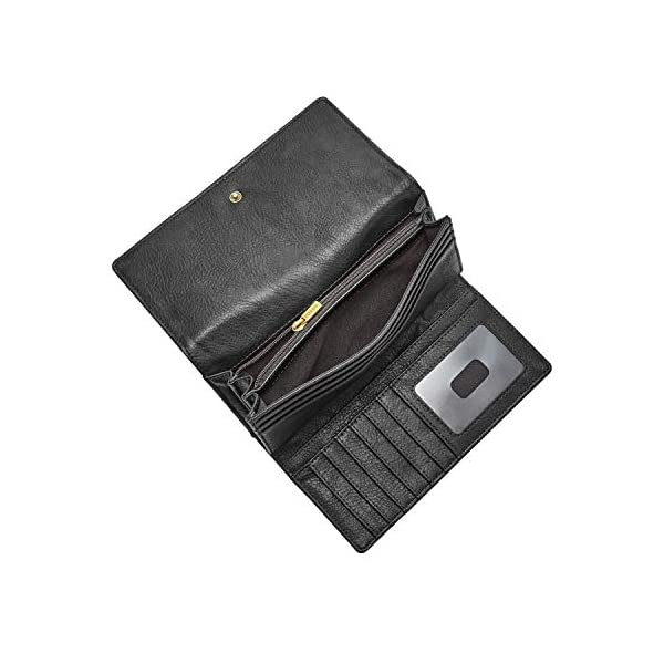 Fossil Women's Logan Leather RFID-Blocking Flap Clutch Wallet 2