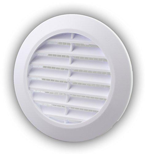 10x Lüftungsgitter Ø 60 mm rund weiß Insektennetz Abluftgitter Zuluft Abluft Gitter Lüftung T74