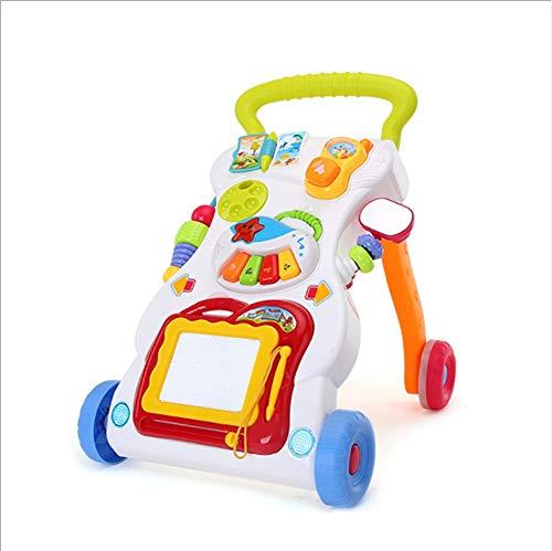 Baby Walker Child Trolley Quatre Roues Stepless Contrôle de la Vitesse Prévenir Le Renversement Prévenir O-Jambes