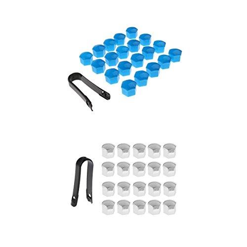 MagiDeal 40 Pcs Voiture Camion Roue Centre De Tire Centre Vis 17mm Casquettes De Protection Bleu + Argent