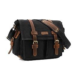 top 10 camera messenger bags Kattee Leather Canvas Camera Bag Vintage DSLR SLR Messenger Shoulder Bag