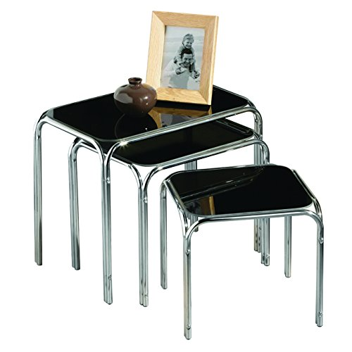 Premier Housewares Nest of Tables with Black Glass Top and Chrome Legs, 45.5 x 29.5 x 38 cm - Set of 3