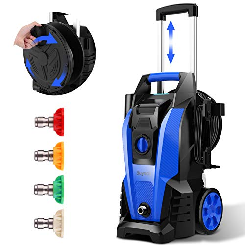 Power Washer, Suyncll Pressure Washer 3800 Max PSI 2000W Electric Portable High Pressure Cleaner Machine with 4 Nozzles, Detergent Tank and Hose Reel, for Homes, Cars, Driveways, Fences, Patios (Blue)