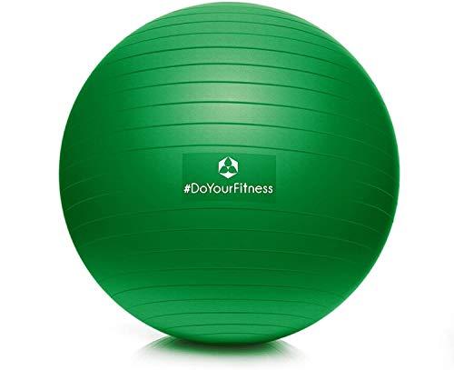 #DoYourFitness® Gymnastikball inkl. & Luftpumpe | 55cm 65cm 75cm o. 85cm | 100% Berstsicher - 150kg Belastbarkeit - robuster Sitzball, Bürostuhl, Fitnessball 75cm dunkelgrün