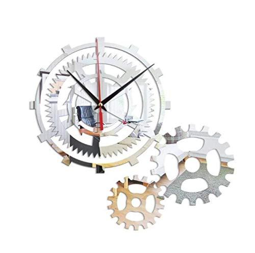 Stella Fella Reloj De Pared De Estilo Industrial De Acrílico Reloj De Espejo De Engranaje