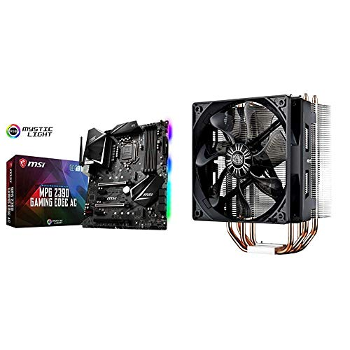MSI MPG Z390 Gaming Edge AC LGA1151 (Intel 8th and 9th Gen) M.2 USB 3.1 Gen 2 DDR4 HDMI DP Wi-Fi SLI CFX ATX Z390 Gaming Motherboard & Cooler Master Hyper 212 Evo CPU Cooler