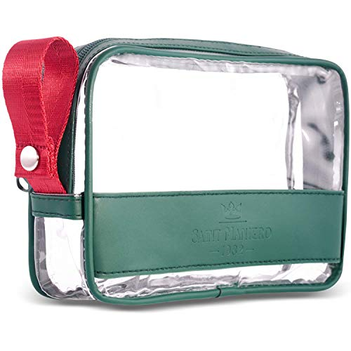 Saint Maniero ® Design Kulturbeutel transparent für Handgepäck Flüssigkeiten – größtmögliches Volumen für Security Check – veganes Leder – mehr Ordnung durch flachen Boden und Henkel (Grün)