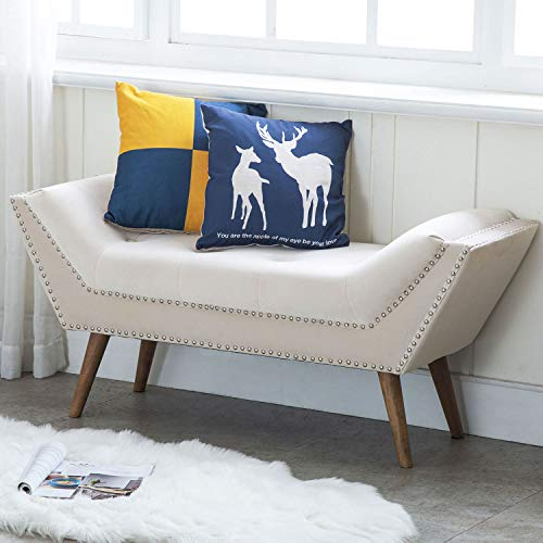 Kmax Upholstered Bedroom Bench with Arms, Button Tufted Velvet Fabric Vanity Bench with Nailhead Trim & Rubber Wood Legs, Cream