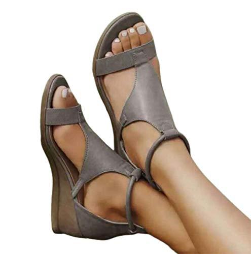WODETIAN Sandalias de Cuña para Mujer Verano Roma Sandalias de Punta Descubierta Zapatillas de Plataformas Abierta Plataforma de Cuero Sintético Zapatos de Verano de Ocio,Gris,37