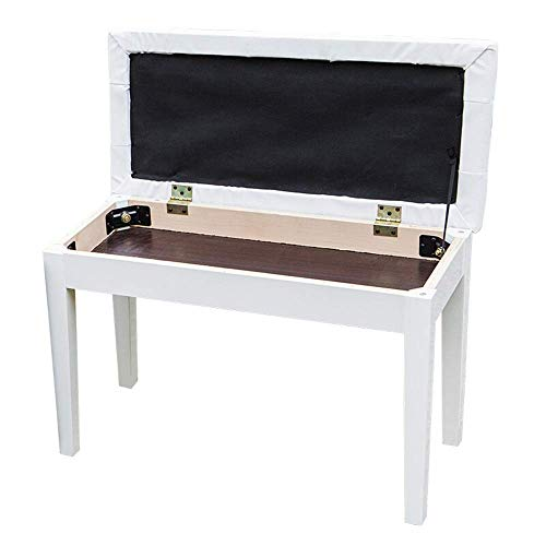 PIVFEDQX Piano Stool Keyboard Bench Piano Stool Wooden 2-Person Electric Piano Benchl with Storage Bookcase Comfortable Seating Experience (Color : White, Size : 75x34x50cm)