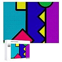 INOV レトロ80s色 ブロック ジグソーパズル 木製パズル 500ピース 38 x 52cm 人気 パズル 大人、子供向け 教育玩具 ストレス解消 ギフト プレゼントpuzzle