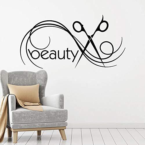 Tijeras tatuajes de pared estudio de belleza diseñador peluquería servicio profesional decoración de interiores letrero puerta y ventana pegatina de vinilo arte