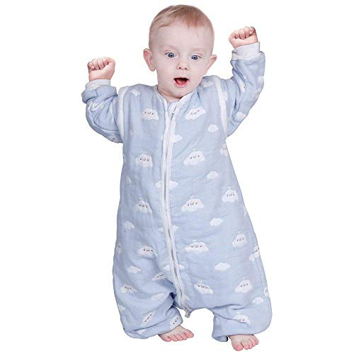 Lictin Schlafsack mit Füße Schlafsack Baby mit abnehmbaren Ärmeln für Säugling Kinder von 85 bis 105 cm 100% Bio-Baumwolle 2.0tog…