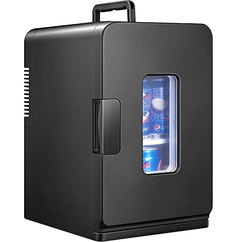 Mini Frigo de Chambre 15L, Mini Réfrigérateur Électrique de Beauté 12V/220V pour Garder Froid/Chaud, Glacière Portable Silencieux avec ECO Mode pour Chambre, Étagère Démontable