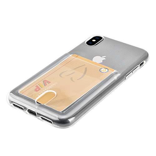 Wormcase ® Kunststoffhülle mit Kartenfach kompatibel für das Apple iPhone XS MAX - Transparent - TPU Schale Back-Cover Schutz-Tasche Kratzfest Stoßfest Bumper Crystal-Clear dünn leicht schmal