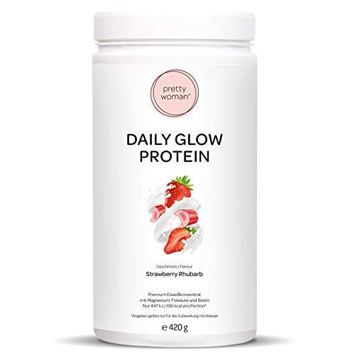 pretty woman® Daily Glow Protein (Strawberry Rhubarb) Eiweißpulver Erdbeere Mehrkomponenten Protein Pulver mit Vitaminen und Mineralien für Frauen, unterstützend zum Abnehmen und Diät, 420 g Dose
