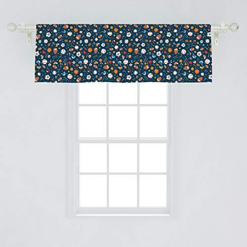 Ambesonne Sport Window Valance, Many Basketball Baseball and Football Champ Gloves Dark Background, Curtain Valance for Kitchen Bedroom Decor with Rod Pocket, 54' X 18', Dark Blue