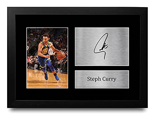 HWC Trading FR Stephen Steph Curry Gift Ondertekend FRAMED A4 Gedrukt Handtekening Golden State Warriors Geschenken Foto…