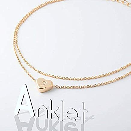 Hand Stamped Gorgeous Double Layered Initial Anklet 16k Plated
