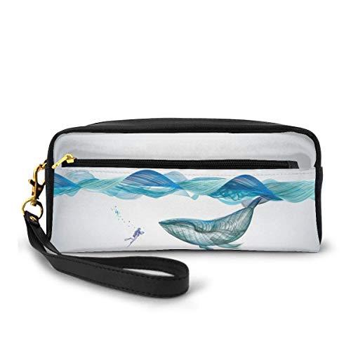 Lawenp Estuche portátil de cuero Pu para lápices - Estuche de maquillaje cosmético de ballena - Porta lápices de escuela de moda con cremallera