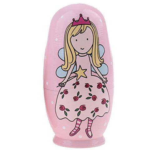 perfeclan 5/10-teilig Hölzerne Babuschka Matruschka Matrjoschka Russische Puppe für Kinder Spielzeug - Rosa