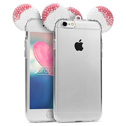 Urcover Custodia iPhone 6 Plus / 6s Plus Orecchie Topolino Cover Silicone Trasparente con Laccio, Cover Retro Apple iPhone 6 Plus / 6s Plus con Strass Brillantini Femminile Donna Bianco/Fucsia