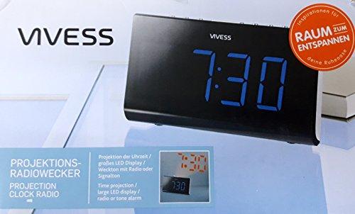 Vivess Projektions- Radiowecker LED Display Projektor schwenk-/fokussierbar Wecker