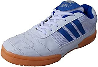 Port Unisex SMASH PU Professional Game Badminton Shoe For Men, Boys, Women, Girls & Junior Upper PU Material Non Marking Sole Outdoor Indoor Playing - Best in Badminton & Other Games Basketball, Volleyball, Running, Gymnastic, Jogging, Walking & Weight Lifting Sports Shoes