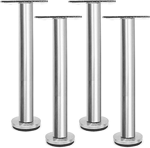 Fisecnoo Piernas de muebles, patas de acero inoxidable, patas de repuesto ajustables, altura ajustable de 0 a 10 mm, para mesas de café, escritorios modernos y soportes de noche