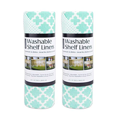 DII Non Adhesive Cut to Fit Machine Washable Shelf Liner Paper For Cabinets Kitchen Shelves Drawers Set of 2 12 x 10 - Aqua Lattice