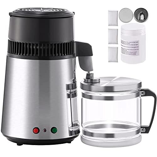 Moracle Destilador de Agua de Acero Inoxidable 750W Destilación de Agua Destilador de Agua de 1,1 Galones / 4 L para el Hogar Encimera con Botella de Conexión Recipiente de Vidrio (Acero Inoxidable)