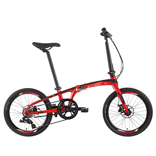 Zunruishop Klappräder Klapprad Mode Arbeitsweg 8-Gang-Shift-Aluminium Rahmen 20-Zoll-Rad-Durchmesser 10 Sekunden Folding Doppelscheibenbremse Klapprad Faltrad Fahrrad (Color : Red)