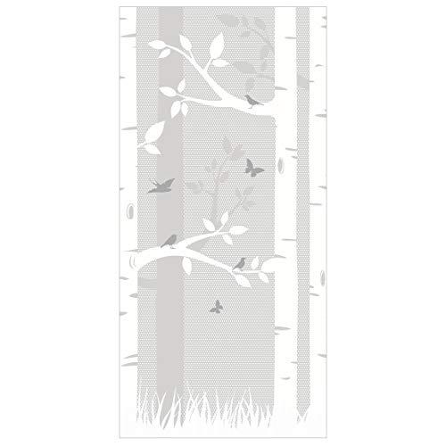 Panel japones birches with butterflies and birds 250x120cm | paneles japoneses separadores de ambientes cortina paneles japoneses cortina cortinas | Tamaño: 250 x 120cm incl. soporte transparente